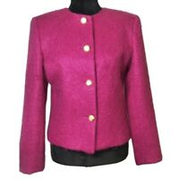 Vintage Mohair Wool Button Coat Fuchsia Pink Work Office Career Business Blazer