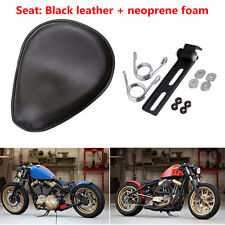 3'' Leather Bracket Spring Solo Seat Harley Motorcycle Chopper Bobber Custom