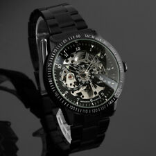 Mens Watch Mechanical Black Dial Stainless Steel Case Self-winding Analog Luxury