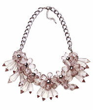 EXQUISITE INTRICATE METAL TONE MASSIVE CHOKER FLOWERS SPIKES ROCK STYLE (CL26)