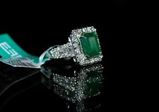 14k WTG Natural Emerald & Diamonds Ring by NWT Sz 7 Engagement Christmas Gift