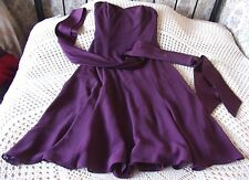 Party dress by DESSY COLLECTION Size 10 Mid purple matte sheer Silky sheen tie