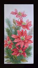 Vintage UNUSED Christmas Card GLITTER RED SPARKLY POINSETTIA Mid-Century