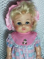 Vintage Dublon EEGEE Co. Doll 13 Inch Blonde with dress and hat socks and undies