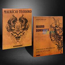 2pcs Japanese Style Dragon Skull Flash Tattoo Book Sketch Manuscripts Design Set