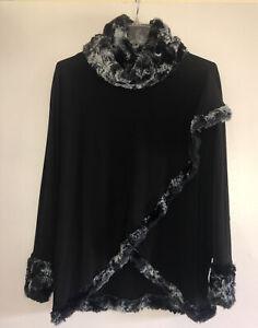 Joseph Ribkoff Faux Fur Trimmed Stretch Wrap Jacket Black & Gray Size 8