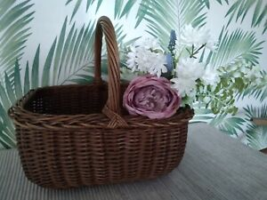 Vintage Large Traditional Shape Shopping Basket Wicker Willow Cane