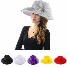 Women Ladies Wedding Formal Church  Organza Wide Brim Hat Ascot Kentucky Derby