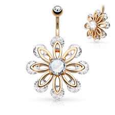 1 - CZ End 8 Petal Flower Round CZ Button Navel Ring Dangle Stainless Steel B528