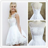 Scoop neck White/Ivory lace Wedding Dress with Pearls Beaded Stock Size 4 6 8 ++