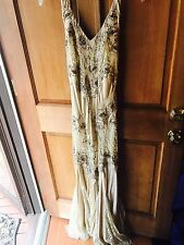 Cache Sequin Beaded Evening Dress Formal Gown Sz 6 Mesh Floral Satin Lace