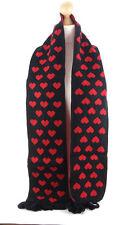 Alta calidad rojo y negro corazón con dibujo de punto de Lana Beanie Gorro Y Bufanda