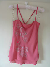 Wish Pink Cami Top with Diamantes -  Size 8 - Pre-owned, Great Condition