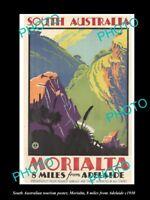OLD LARGE HISTORIC PHOTO OF SOUTH AUSTRALIA TOURISM POSTER c1930, MORIALTA