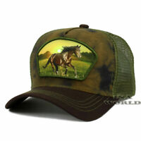 Horse Western Style Cowboy Hat Trucker Mesh Snapback Tie Dye Baseball Cap- Brown