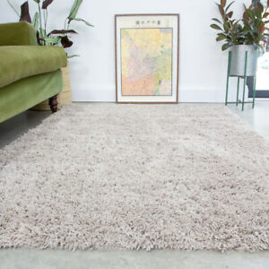 Beige Shaggy Rug 4.5cm Thick Anti Shed Natural Soft Living Room Shaggy Area Rugs