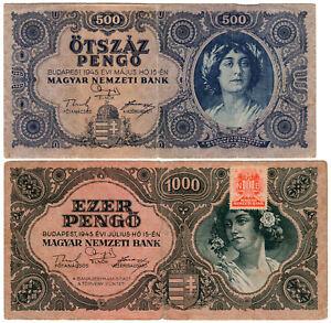 Hungary 500 & 1000 Pengő P#117a & P#118b2 (1945) *2 Banknote Set* VF