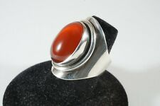 Vintage TSJC Sterling and Carnelian Ring, Size 7.