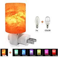 Himalayan Salt Lamp Wall Night Light Hand Carved Plug In Nightlight 7 LED Colors