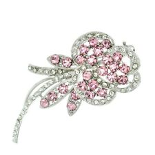 Flower Brooch Made With Swarovski Crystal Pink Clear Floral Rose New Pin