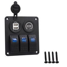 12V-24V 3Gang LED Schaltpanel Schalter Schalttafel Voltmeter für Bus Boot +USB