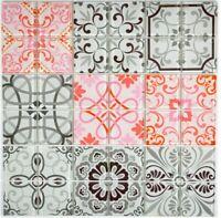 Retro Vintage Mosaikfliese Spanien grau rose rot Glasmosaik WB68-Retro-F |1Matte
