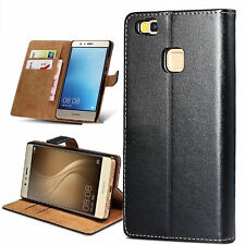 Genuine New Leather Flip Wallet Case Cover Pouch Stand Black For Huawei P9 Lite