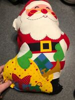 Vtg 1980s Handmade Sewn Stuffed Fabric Christmas  Santa
