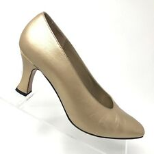 St John Gold Leather Classic Heel Pumps Italy Squared Toe Womens Shoe SIZE 7 B