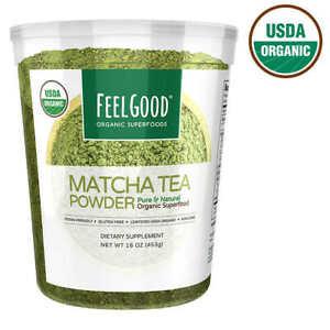 Feel Good USDA Organic Matcha Tea Powder, 16 Ounces