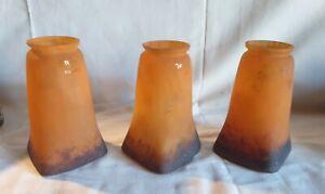 3 Ancienne Tulipe en pate de verre signée MULLER frères Luneville applique