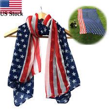 Women Lady Fashion Summer Scarf Soft Silk Chiffon American Flag Scarf Scarves US
