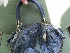 Coach Python MADISON PYTHON PRINTED LEATHER Blue Metallic BAG PURSE Gold HW