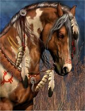 VINTAGE NATIVE SPIRIT PAINTED WAR HORSE FEATHERS WARRIOR CANVAS ART PRINT LARGE