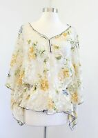 Free People Ivory Sheer Floral Lace Smocked Blouse Top Size S Yellow Green Boho