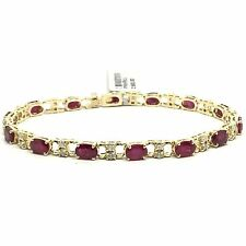14k yellow gold diamond and ruby tennis bracelet