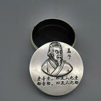 Collect Silver copper carved Mencius meng zi Brush cartridge ink case round box