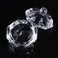Crystal Glass Cup Bowl Dappen Dish w/Lid Tool for Nail Art Liquid Arcylic Powder