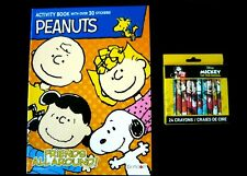 Peanuts 30 Sticker Activity Coloring Book & 24 Official Mickey Mouse Crayons