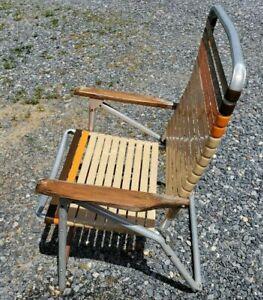 Vintage  Telescope Aluminum Folding Lawn Patio Arm Chair Orange Brown vinyl