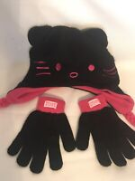 Girls Hello Kitty Hat Gloves Set Earflaps Fleece Pink/ Black One Size Fit Most_