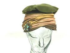 Marshall Fields Vintage Green Velvet Layered Satin Turban Hat Rhinestone Brooch