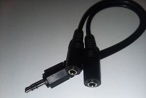 """3.5mm Y cable male /2 female stereo 9"""" long, audio Y  headset cable, aux splittr"""
