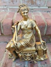 Antique Gold Spelter 19th C Gilted Figural ANSONIA Woman Clock Statue Figure!!!