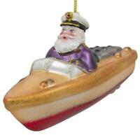 Captain Santa on the Boat Blown Glass Christmas Ornament