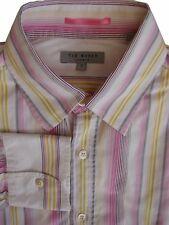 TED Baker Camicia Da Uomo 15.5 M Bianco-Rosa Giallo & Grigio A Strisce