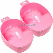 2 PCS Pink Nail Art Tips Hand Soak Bowl Tray Treatment Remover Manicure Tool