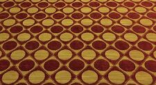 DURALEE CIRCLE DIAMOND GOLD RED CHENILLE FURNITURE CURTAIN FABRIC BY THE YARD