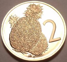 Rare Cameo Proof Cook Islands 1973 2 Cents~13,000 Minted~Pineapple~Free Shipping