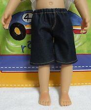 Fits 18 Inch Kidz 'n' Cats Boy  Doll .. Boy Doll Denim Fly-Front  Shorts. D343
